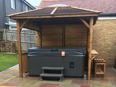 Relocated hot tub